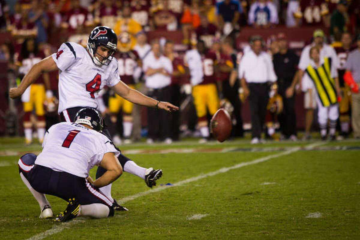 Sept. 19: Texans 30, Redskins 27 (OT) Texans kicker Neil Rackers (4) connects on a game-winning 35-yard field goal from the hold of Matt Turk in overtime.