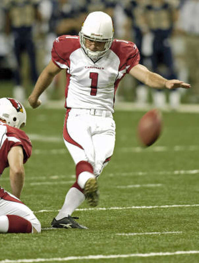 Neil Rackers spent the last seven years with Arizona and was 16-of-17 on field goals last season. Photo: TOM GANNAM, AP