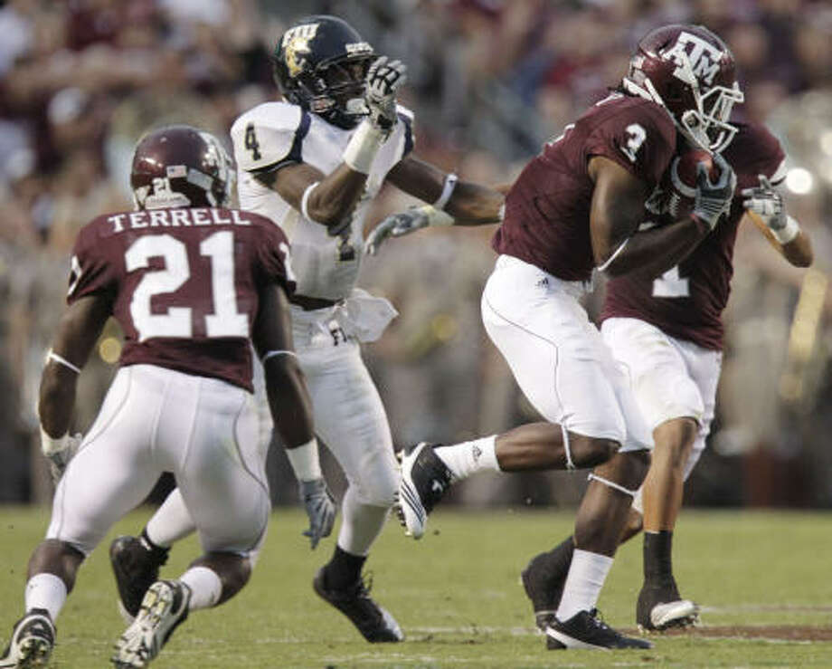 Sept. 18: Texas A&M 27, Florida International 20Texas A&M cornerback Lionel Smith (3) intercepts a pass from Florida International quarterback Wesley Carroll (not pictured) with 3:42 left in the second quarter. Photo: Julio Cortez, Chronicle