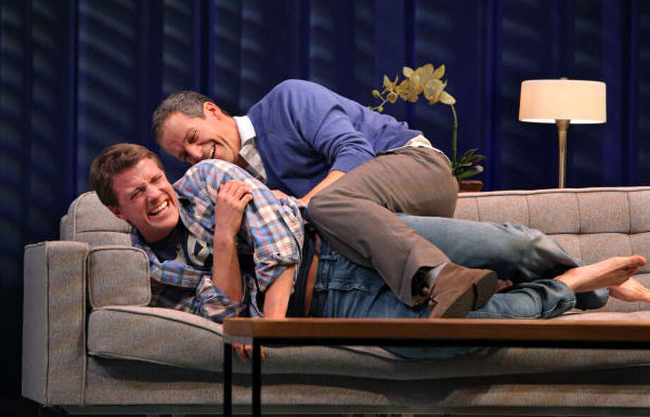 In Geoffrey Nauffts Next Fall, a leading contender for best play, sexual orientation is not the issue. It's that Adam (Patrick Breen, above) is an atheist and Luke (Patrick Heusinger) is devoutly religious — and the impact of that on their relationship and their families. Photo: SARA KRULWICH :, New York Times