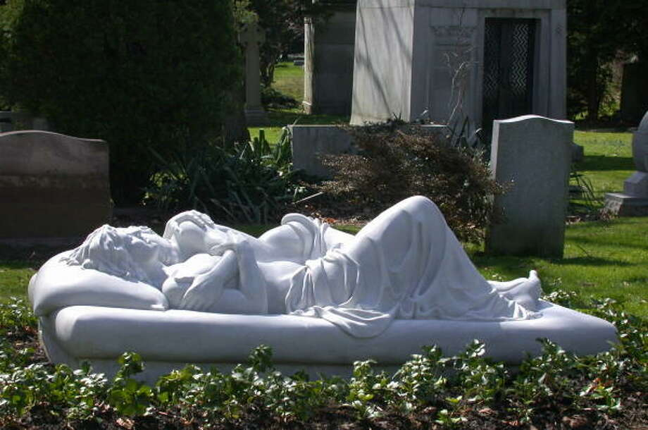 Patricia Cronin's sculpture Memorial to a Marriage is normally in the cemetery plot for her and her partner. Photo: Courtesy Of Patricia Cronin