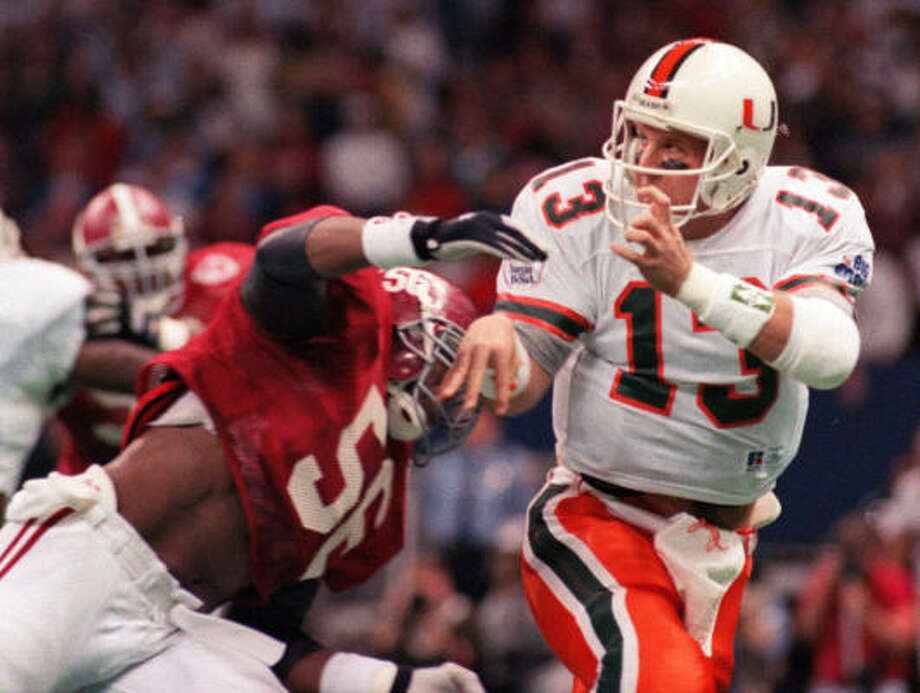 3. Gino Torretta, QB, Miami, 1992Good quarterbacks on great teams tend to get too much support from Heisman voters. Torretta is not the only one on this list who falls into that category, but the most glaring. He beat out Marshall Faulk, who was a one-man show at San Diego State, running for 1,630 yards and 15 touchdowns. Photo: Bill Feig, AP