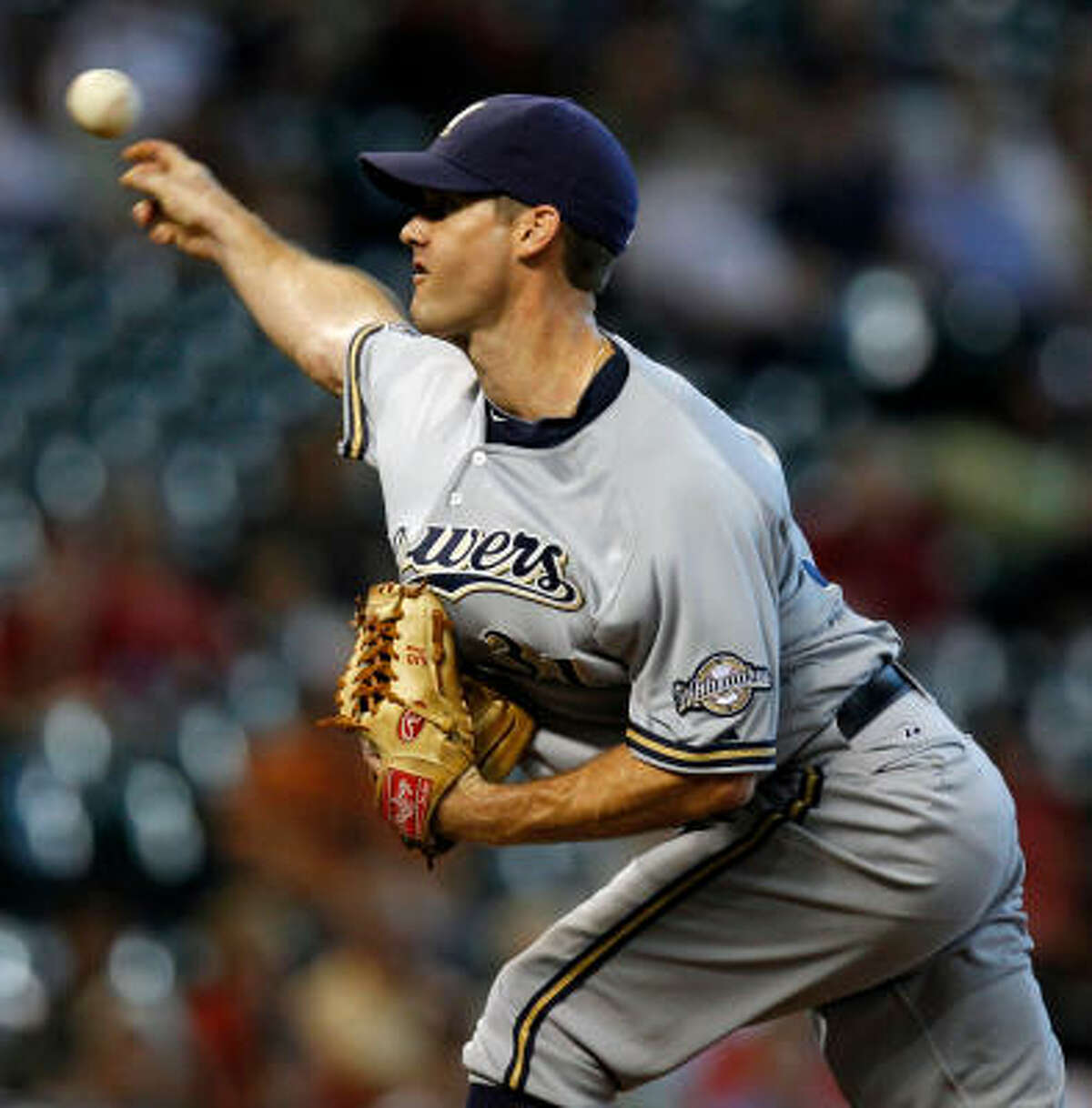 Brewers starter Dave Bush gave up six runs (five earned) in 4 1/3 innings.