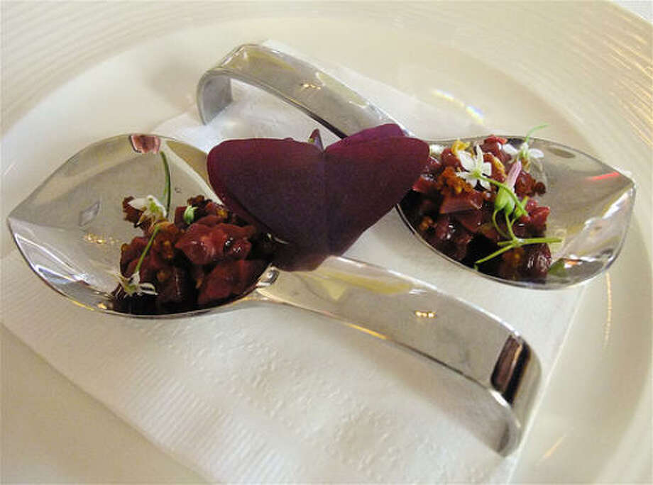 Randy Rucker's raw course of venison-heart tartare with toasted millet and wood sorrel, Summer Repast tasting collaboration at Chez Roux. Photo: Alison Cook, Chronicle