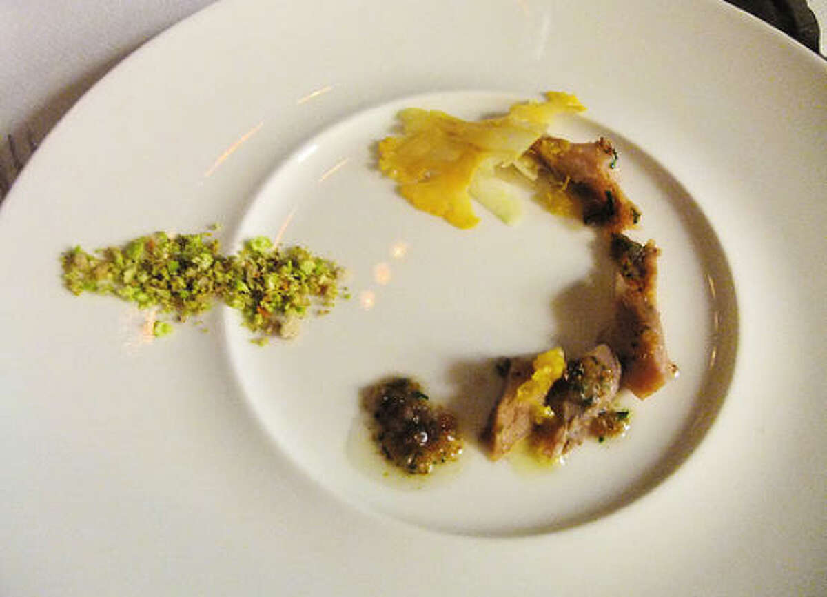 Seth Siegel-Gardner's raw course of blue-nose runner (a Gulf by-catch from Louisiana Foods' Jim Gossen) tossed with a vinaigrette of bone marrow and crisp toast crumbs. Plus cauliflower two ways: white, sliced wafer thin; and green, minced to a fine crunch.