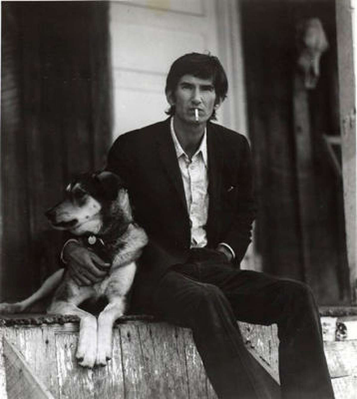 Townes Van Zandt and his dog, Geraldine.