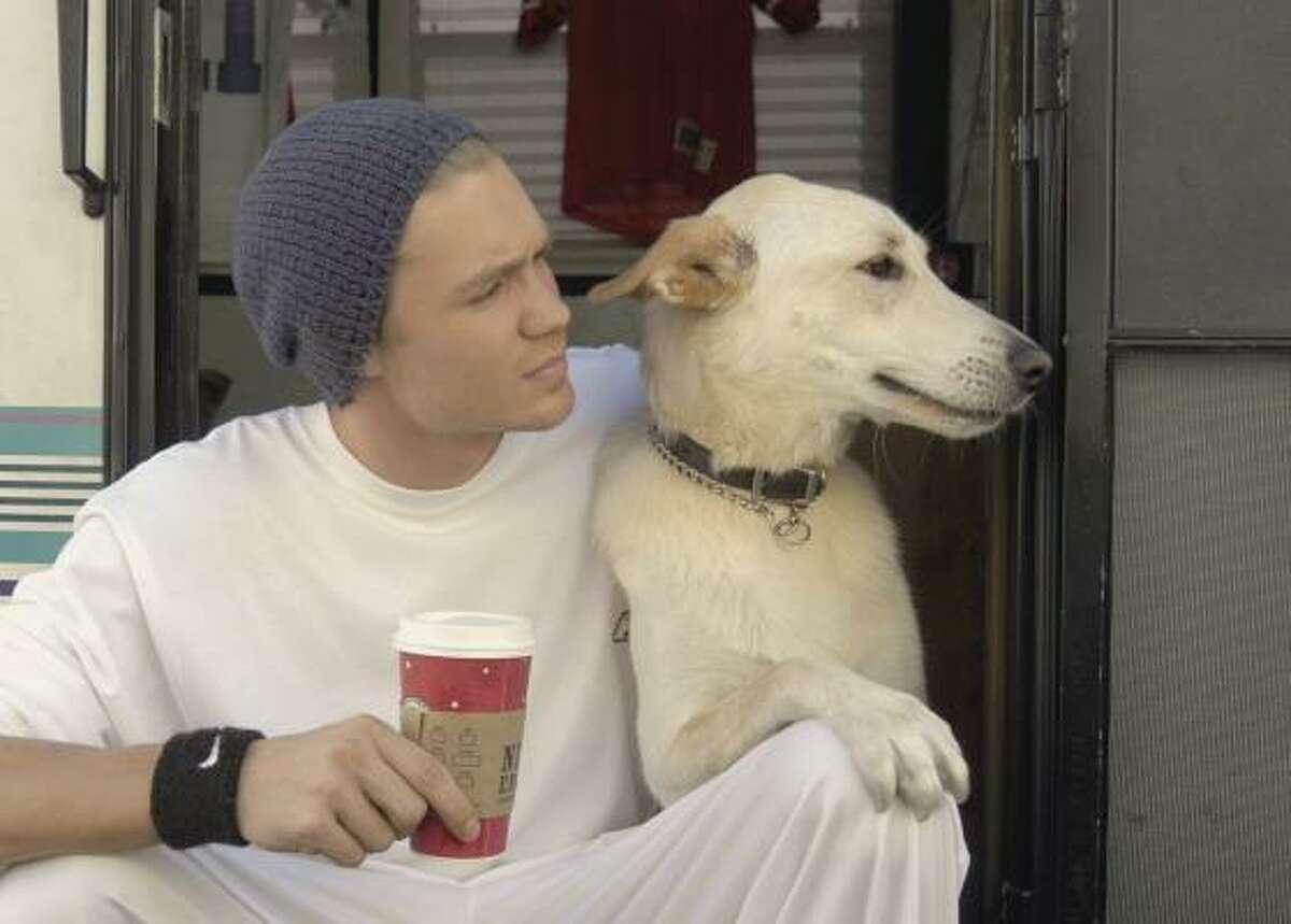 Chad Michael Murray and his dog.