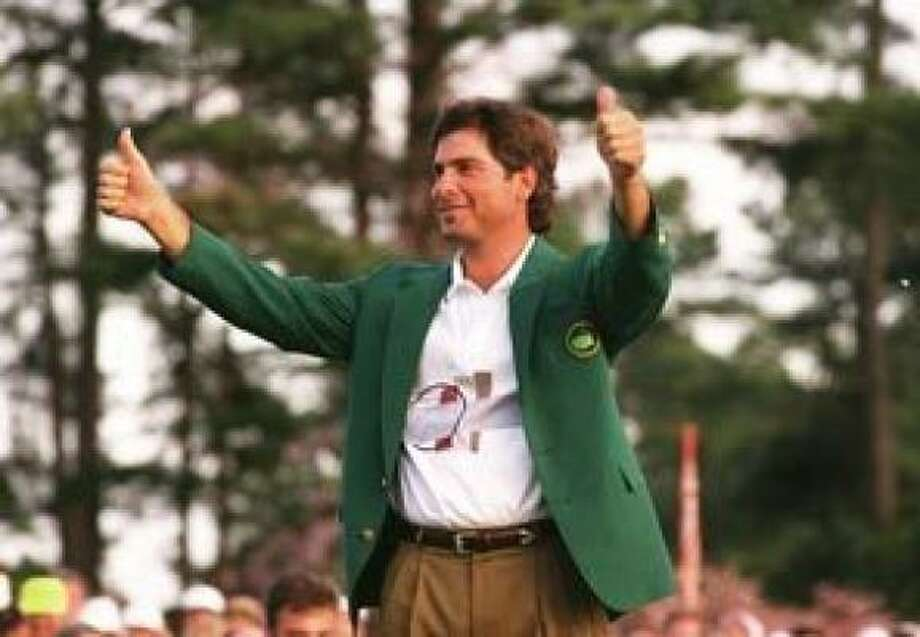 1. Fred Couples, Nantz's suitemate at the University of Houston, wins the Masters with Nantz on hand for the green jacket presentation at Butler Cabin (April 12, 1992). Photo: Lenny Ignelzi, Associated Press