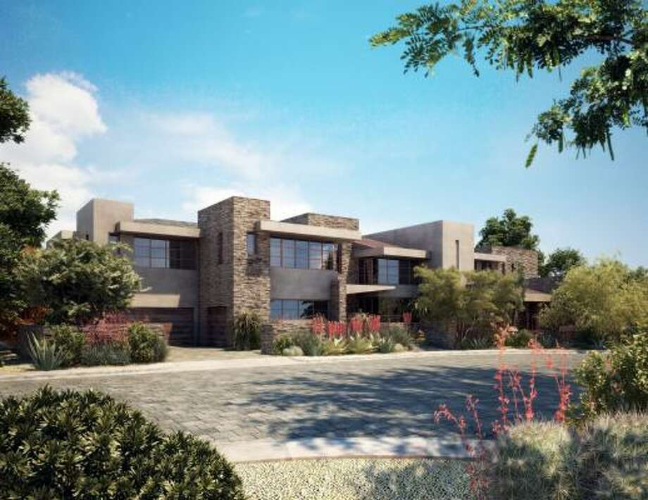 """passing nod: RM Design Studio's computerized rendering of The New American Home 2010, designed by Rob Williams for the KTGY Group in Irvine, Calif. With strong horizontal planes, stone walls and an earth-toned palette, this """"desert modern"""" house gives more than a passing nod to the work of Frank Lloyd Wright."""