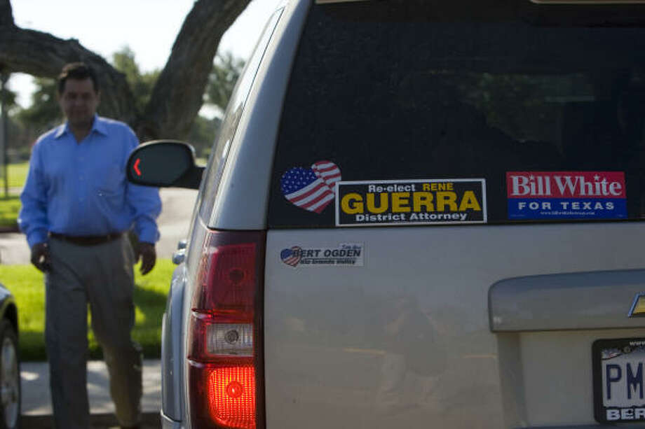 John David Franz, mayor of Hidalgo, walks to his car where he said he is endorsing Bill White for governor. Franz contends that the government is spending too much money on U.S. Border Patrol officers and not enough on U.S. Customs officials. Photo: Johnny Hanson, Houston Chronicle