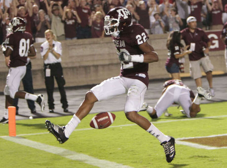 Sept. 11: Texas A&M 48, Louisiana Tech 16 Texas A&M's Dustin Harris celebrates after returning a punt for a touchdown in the third quarter of Saturday's game in College Station. Photo: Julio Cortez, Chronicle