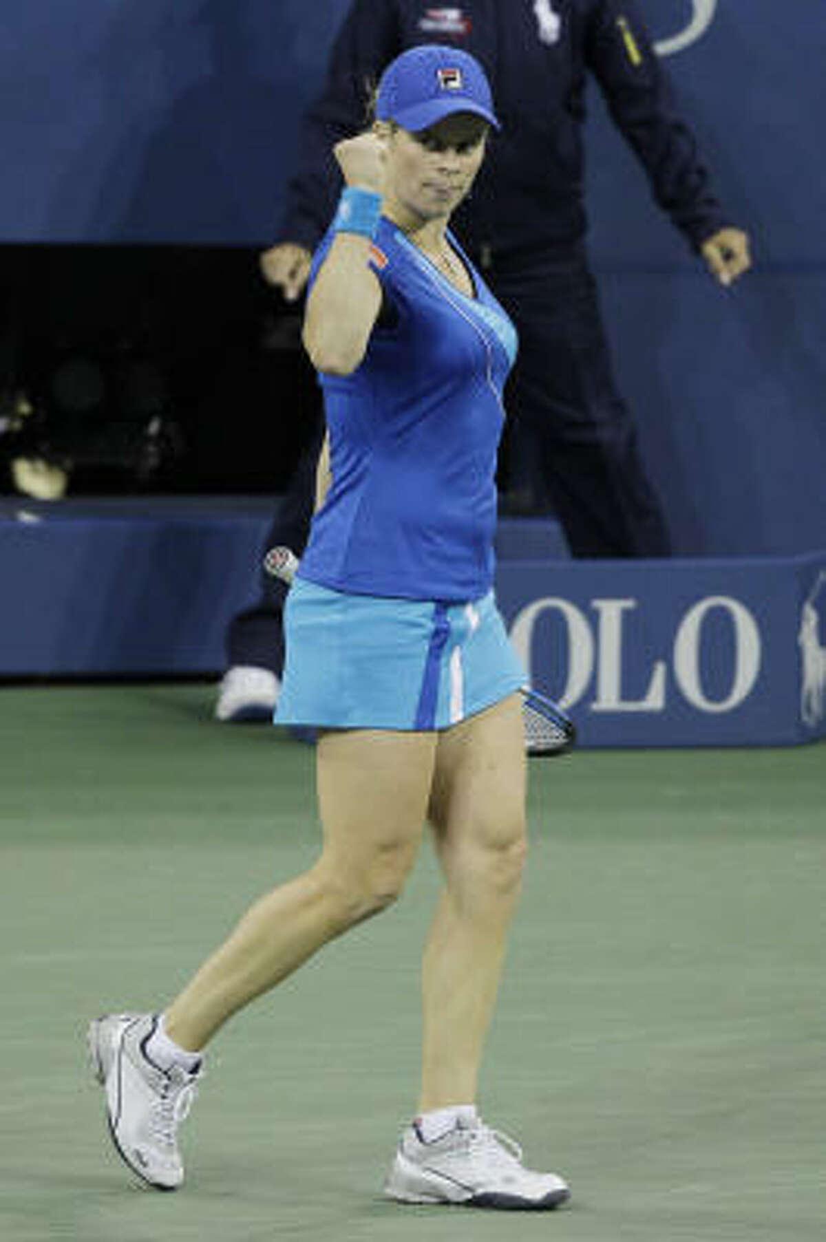 Kim Clijsters reacts during her match against Vera Zvonareva.