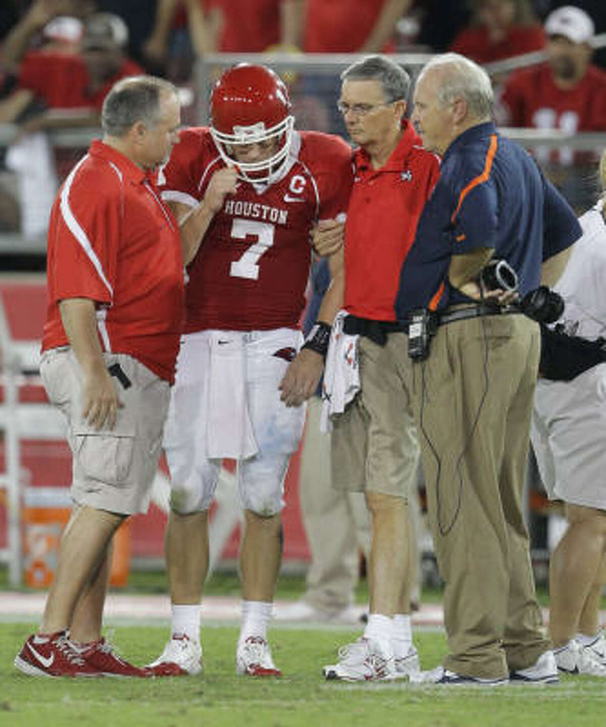 UH quarterback Case Keenum was shaken up while trying to make a tackle and left in the third quarter of Saturday's game.