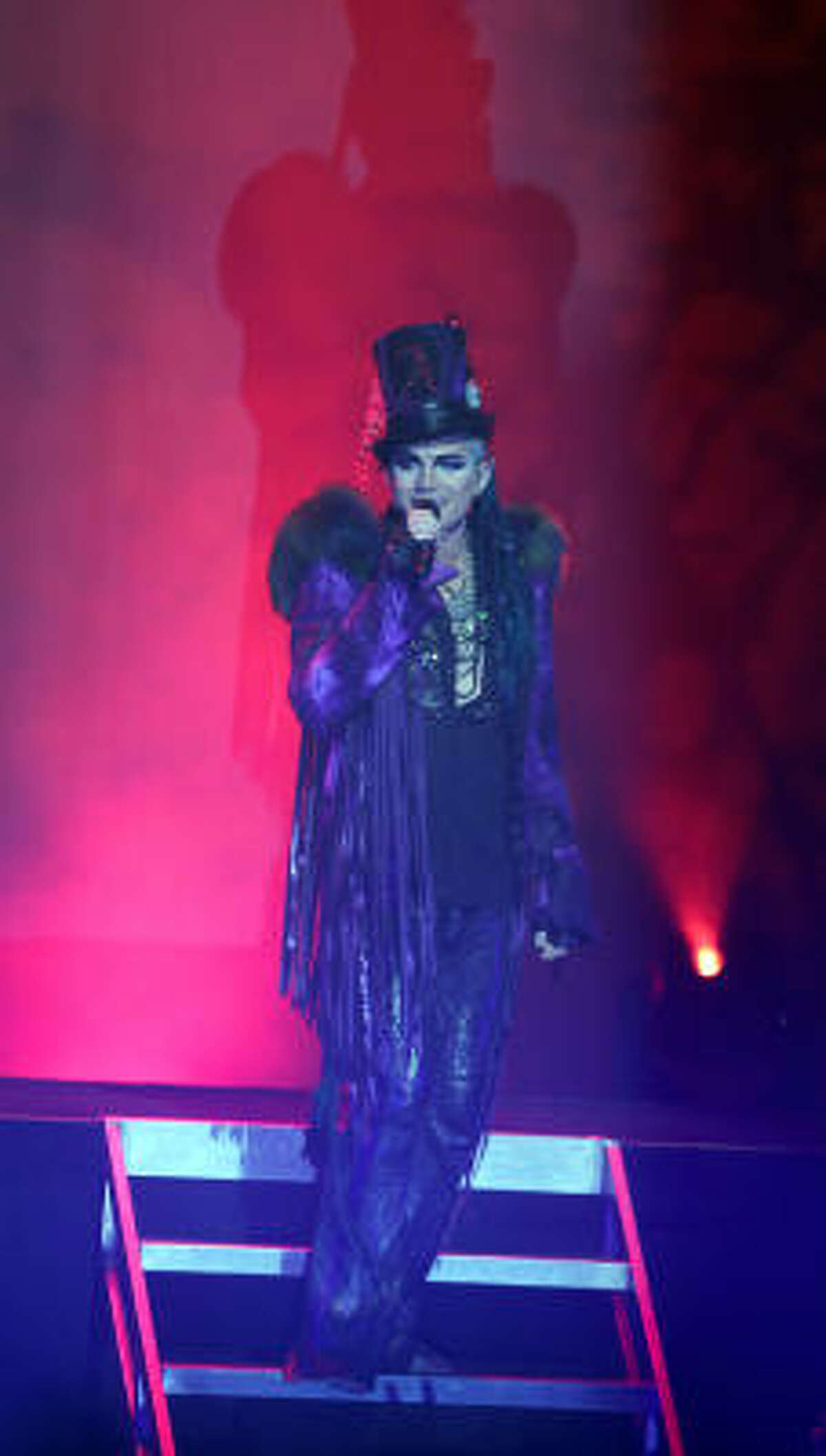 Adam Lambert performs during the Glam Nation Tour at the Hobby Center in Houston, Texas.
