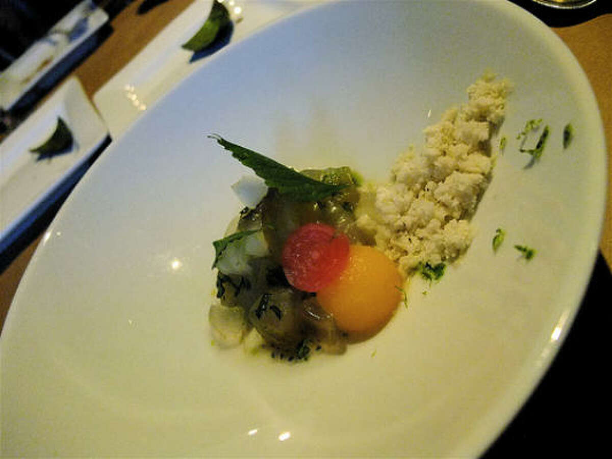 Ingredients for the raw melon soup course at Just8 Project: Gulf snapper, melon fresh & pickled, aloe, herbs, galangal ice.
