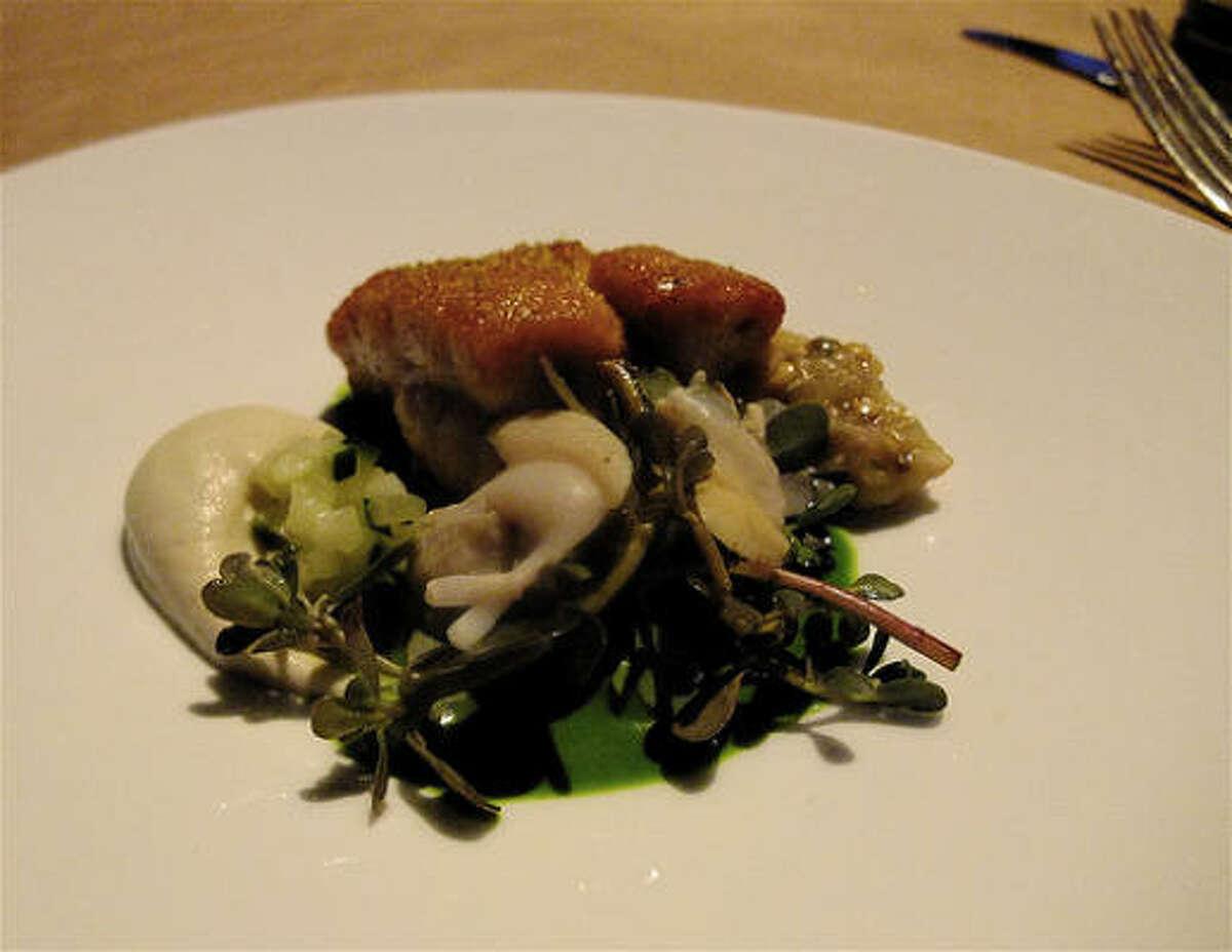 Seared sweetbreads & clam with hay-smoked eggplant caviar & puree, purslane, arugula vinaigrette at Just8 Project.