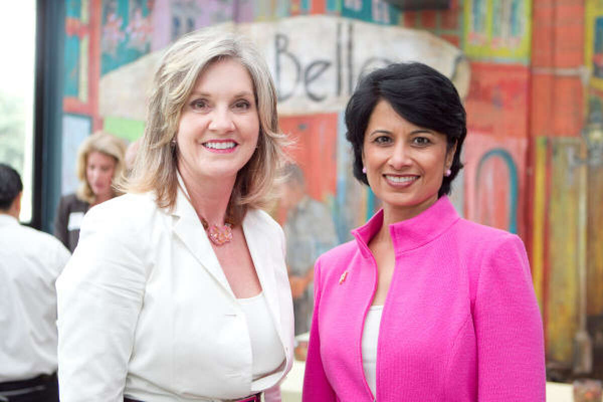 Pattie Dale Tye, left, and Renu Khator attend the 2010 Women on the Move luncheon kickoff reception at Ciao Bella.