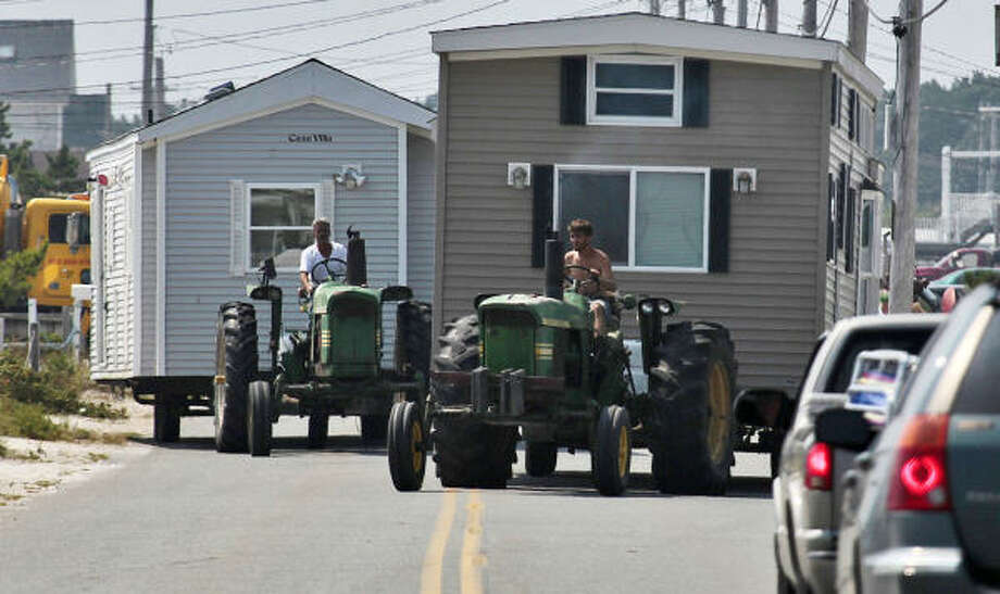 Mobile homes are removed from along East Beach Road in Westport, Mass., Thursday, Sept. 2, 2010, after a hurricane warning was issued for the tip of Massachusetts, in anticipation for Hurricane Earl. Photo: Peter Pereira, AP