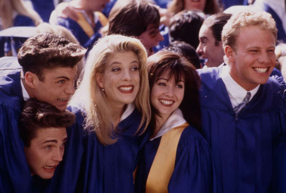 Then: Tori Spelling, second from left, played Donna Martin. Photo: Andrew Semel, Fox Broadcasting Co.