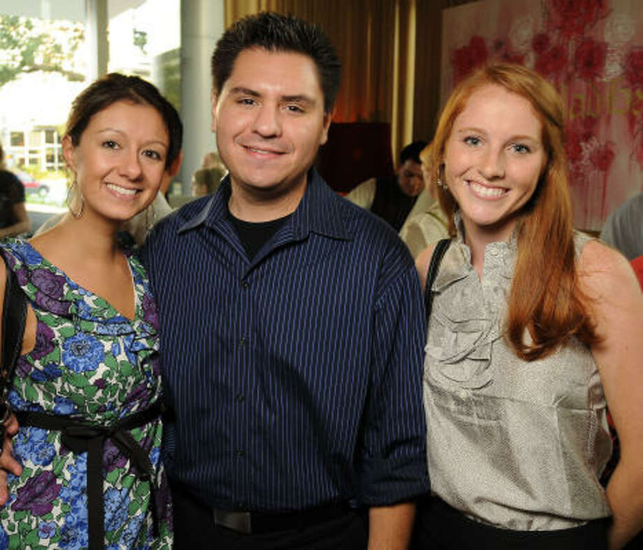 From left: Melissa Seuffert, Anthony Pineda and Kim Espinosa at the fall kickoff party for Ballet Barre at RDG + Bar Annie. Photo: Dave Rossman, For The Chronicle