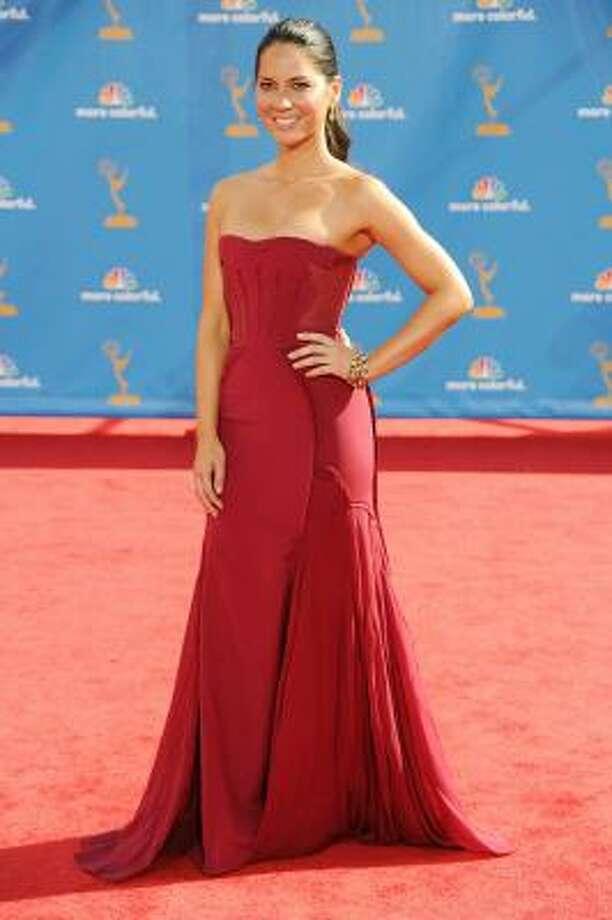 Olivia Munn. Red alert – she's gorgeous – no bling needed. Photo: Frazer Harrison, Getty Images
