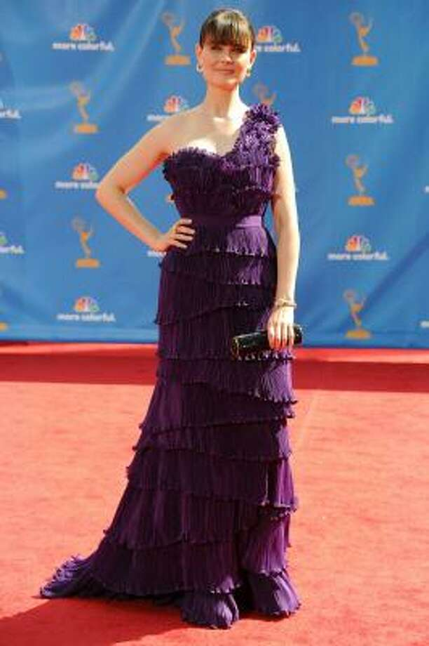 Emily Deschanel – Almost makes us wish we liked purple. Photo: Frazer Harrison, Getty Images