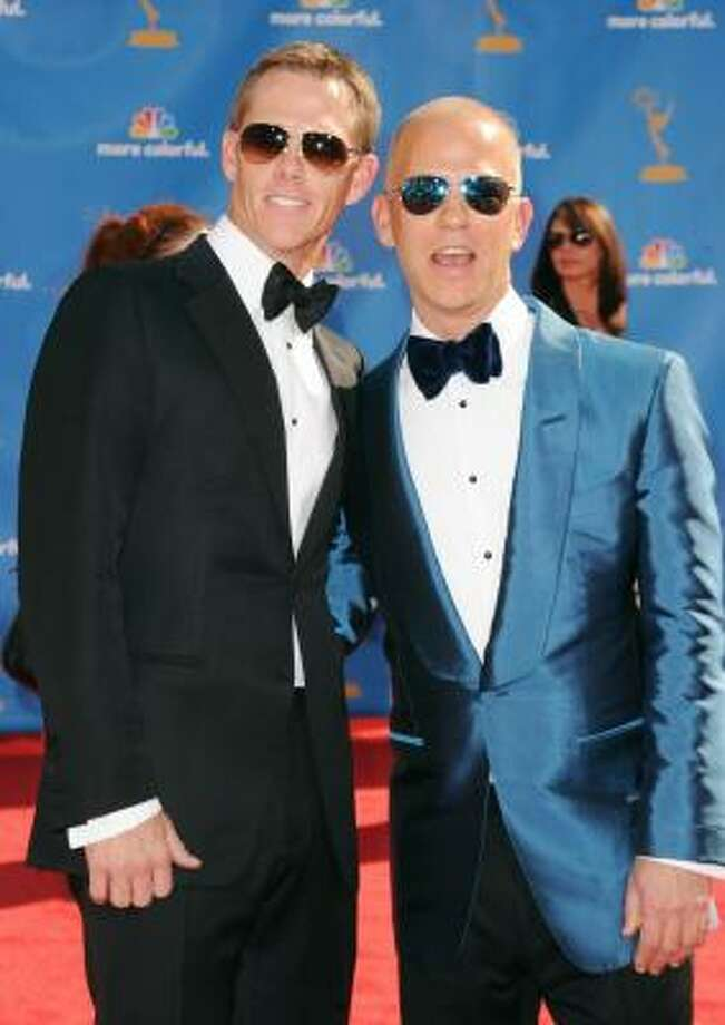 Ryan Murphy's shiny blue Tom Ford tux somehow works. Photo: Jason Merritt, Getty Images