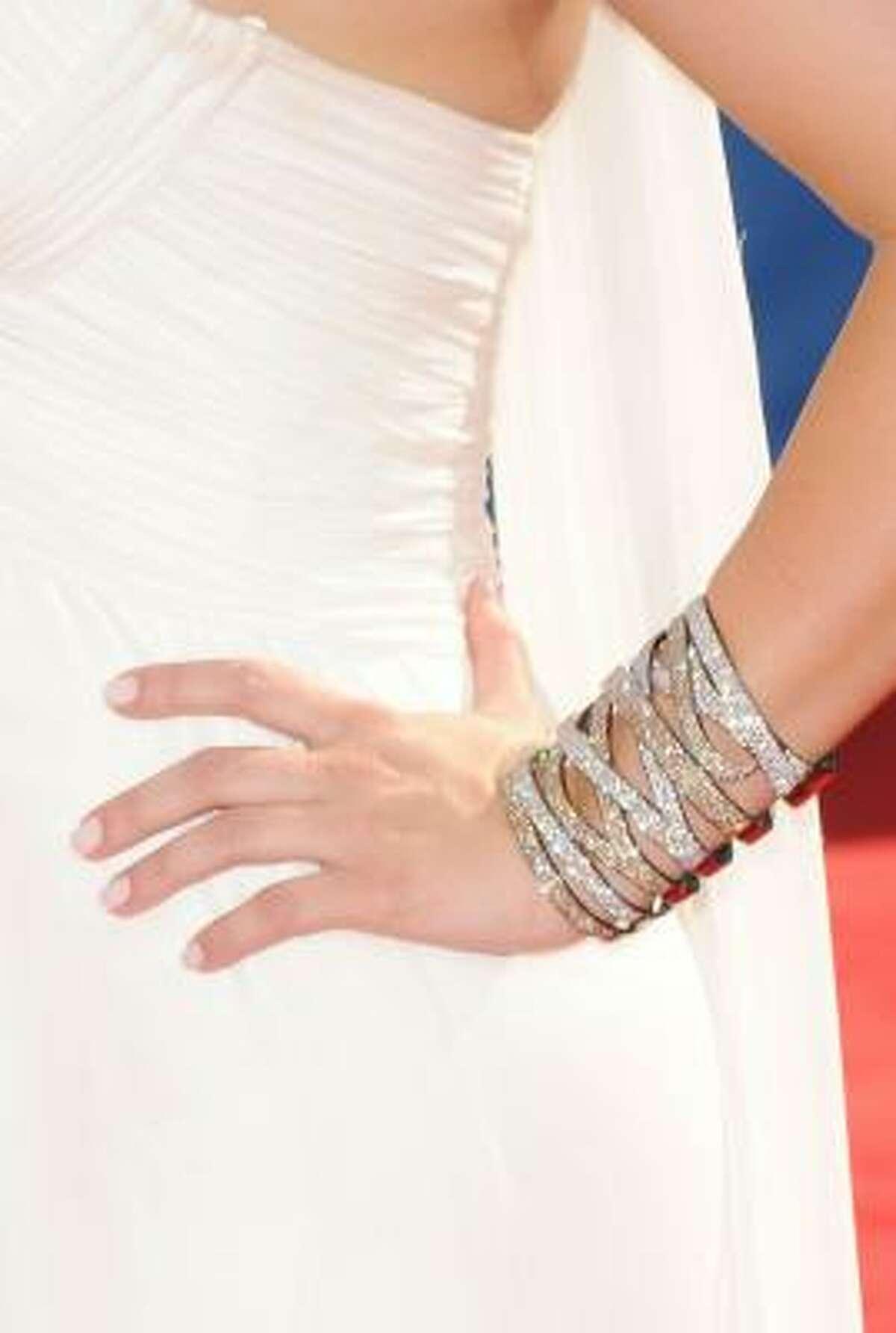 Kim Kardashian's bracelet sparkled from afar.