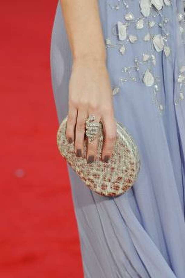 Actress Emily Blunt's beaded clutch purse. Photo: Frazer Harrison, Getty Images
