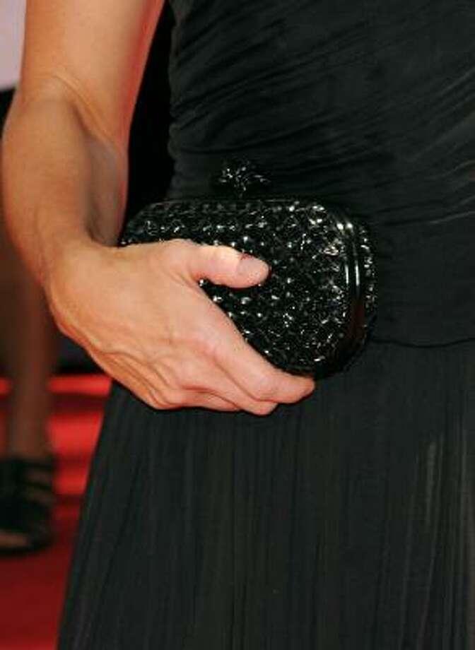 Edie Falco bag had a quilt-like pattern. Photo: Jason Merritt, Getty Images