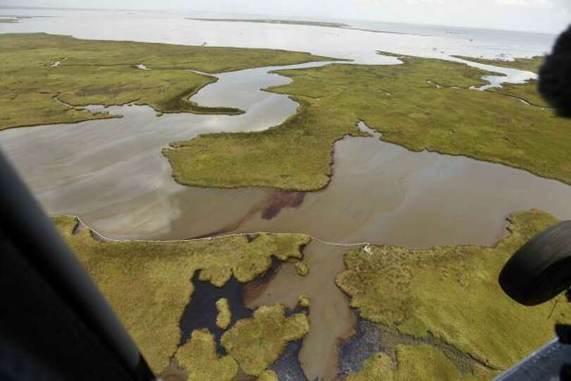 The oil damaged shoreline in the Northern reaches of Barataria Bay is seen amidst oil polluted water