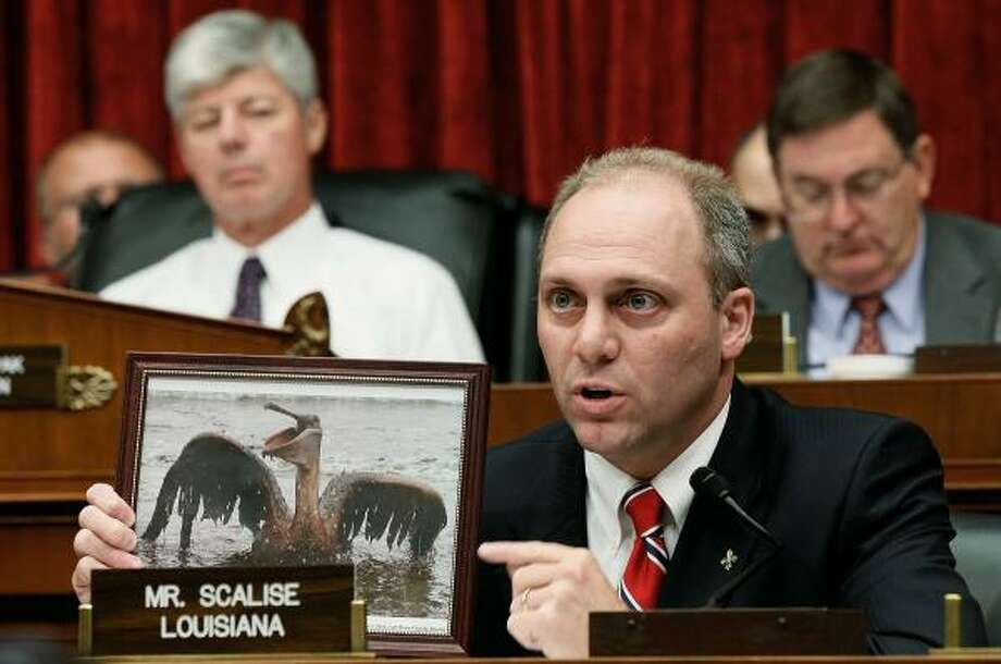 "U.S. Rep. Steve Scalise, R-La., holds up a photo of a pelican coated in oil as he questions BP Chief Executive Tony Hayward during a hearing of the Oversight and Investigations Subcommittee on ""The Role Of BP In The Deepwater Horizon Explosion and Oil Spill"" on June 17, 2010. Photo: Alex Wong, Getty Images"