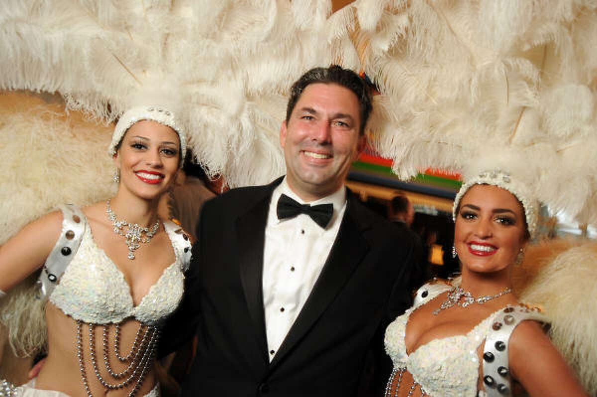 From left: Laura Makkaoui, Jared Lang and Lindsey Georgalas at the Health Museum's Casino Night at the Hobby Center for the Performing Arts.