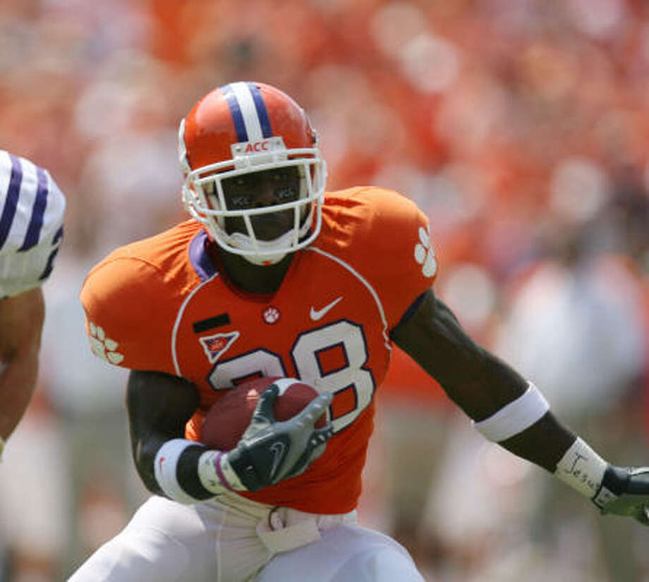 Clemson running back C.J. Spiller is expected to be a first-round selection in this year's NFL Draft, and he could be on the Texans' radar. Photo: Rich Glickstein, MCT