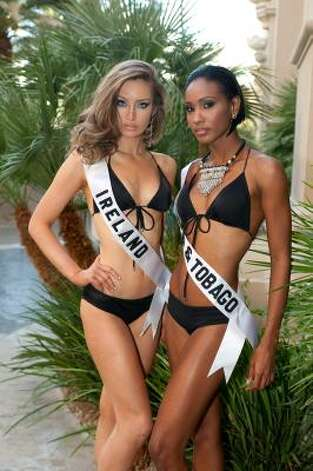 Rozanna Purcell, Miss Ireland and LaToya Woods, Miss Trinidad & Tobago Photo: Darrren Decker, AP