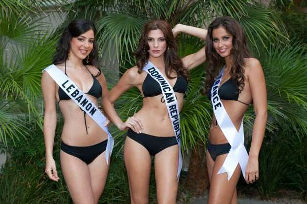Rahaf Abdallah, Miss Lebanon, Eva Arias, Miss Dominican Republic, and Malika Menard, Miss France Photo: Darrren Decker, AP