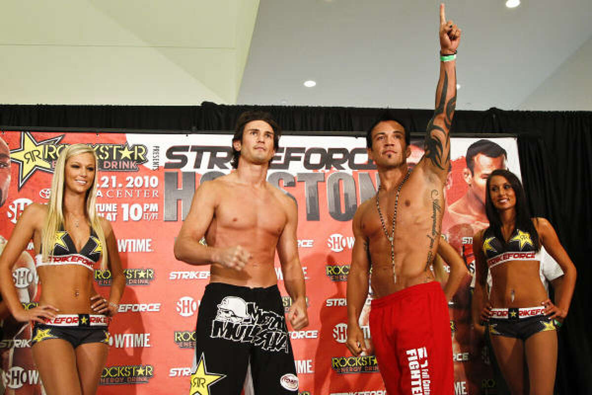 Houston native K.J. Noons, left, and Jorge Gurgel react after weighing in for Saturday's Strikeforce MMA event.