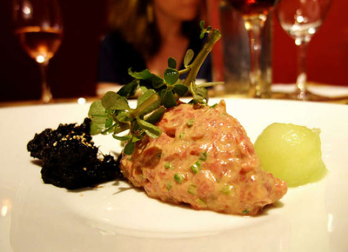 Lamb tartare with yogurt, shiso leaf & melon, Just8 Project, 8/13/10.