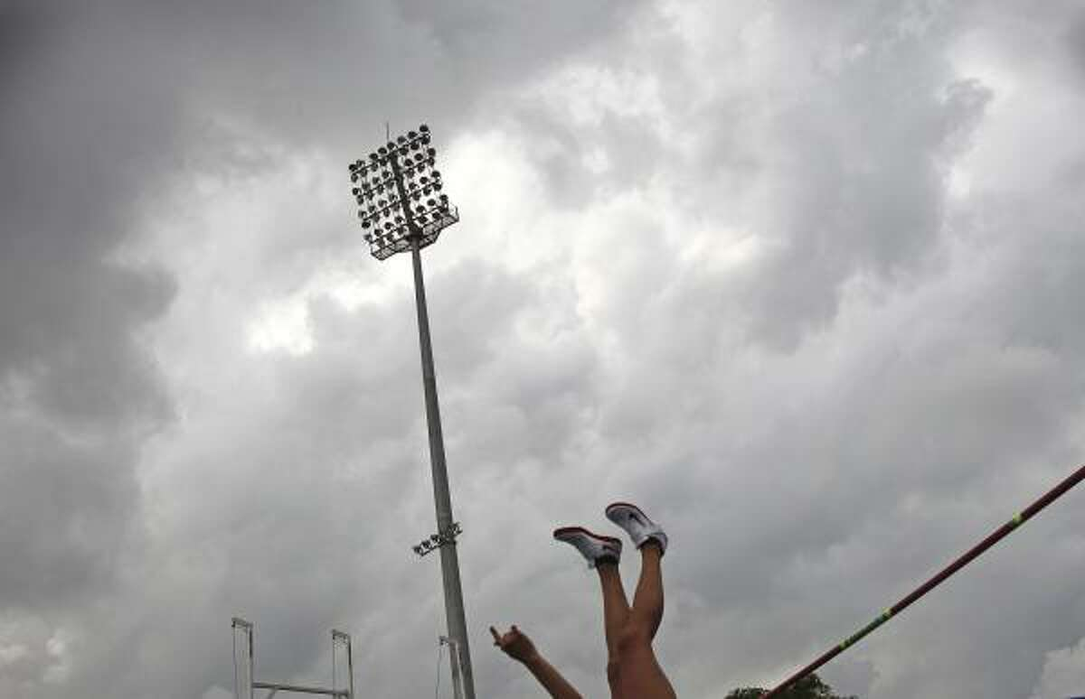Leontia Kallenou of Cyprus competes in the women's high jump at the Youth Olympics on Wednesday, Aug. 18, in Singapore.