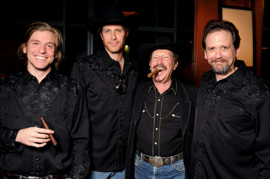 From left: Adam Van Wagoner, Justin Doran, Kinky Friedman and Tom Prior after a reading of of Ted Swindley's play Becoming Kinky: The World According to Kinky Friedman. Photo: Dave Rossman, For The Chronicle