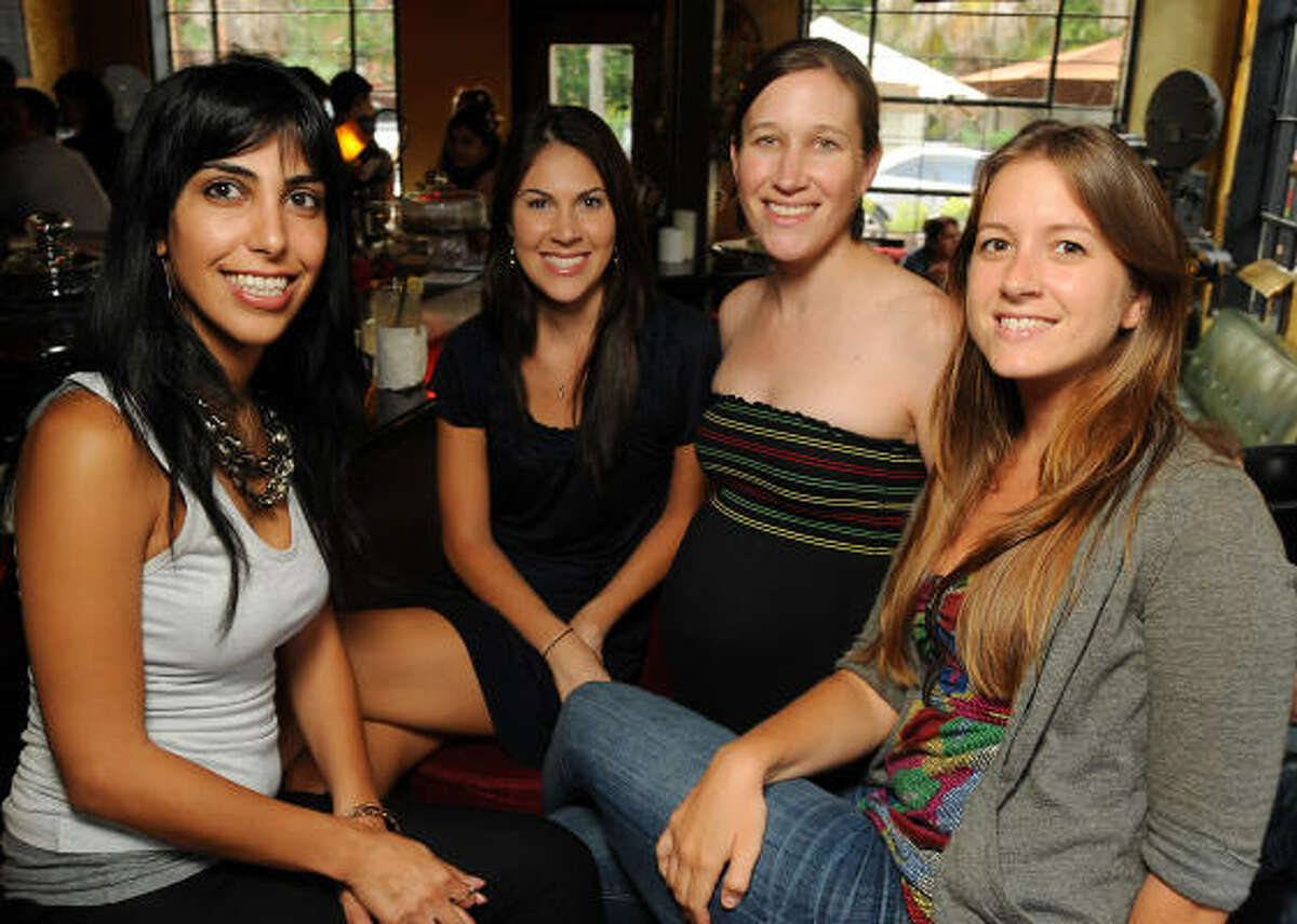 From left: Nikou Tabaee, Jessica Hensley, Catherine Callaway and Cate Black at a Cultured Cocktails happy hour event for rdAgents, the Rice Design Alliance's young professionals group, at Boheme.