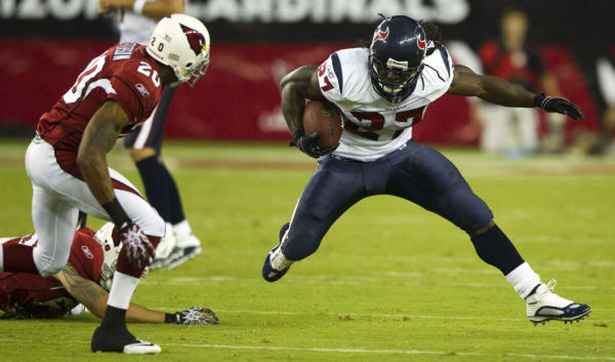 Texans running back Chris Henry cuts back against Cardinals cornerback A.J. Jefferson during the third quarter of Saturday's preseason game at University of Phoenix Stadium in Glendale, Ariz. The Cardinals beat the Texans 19-16.