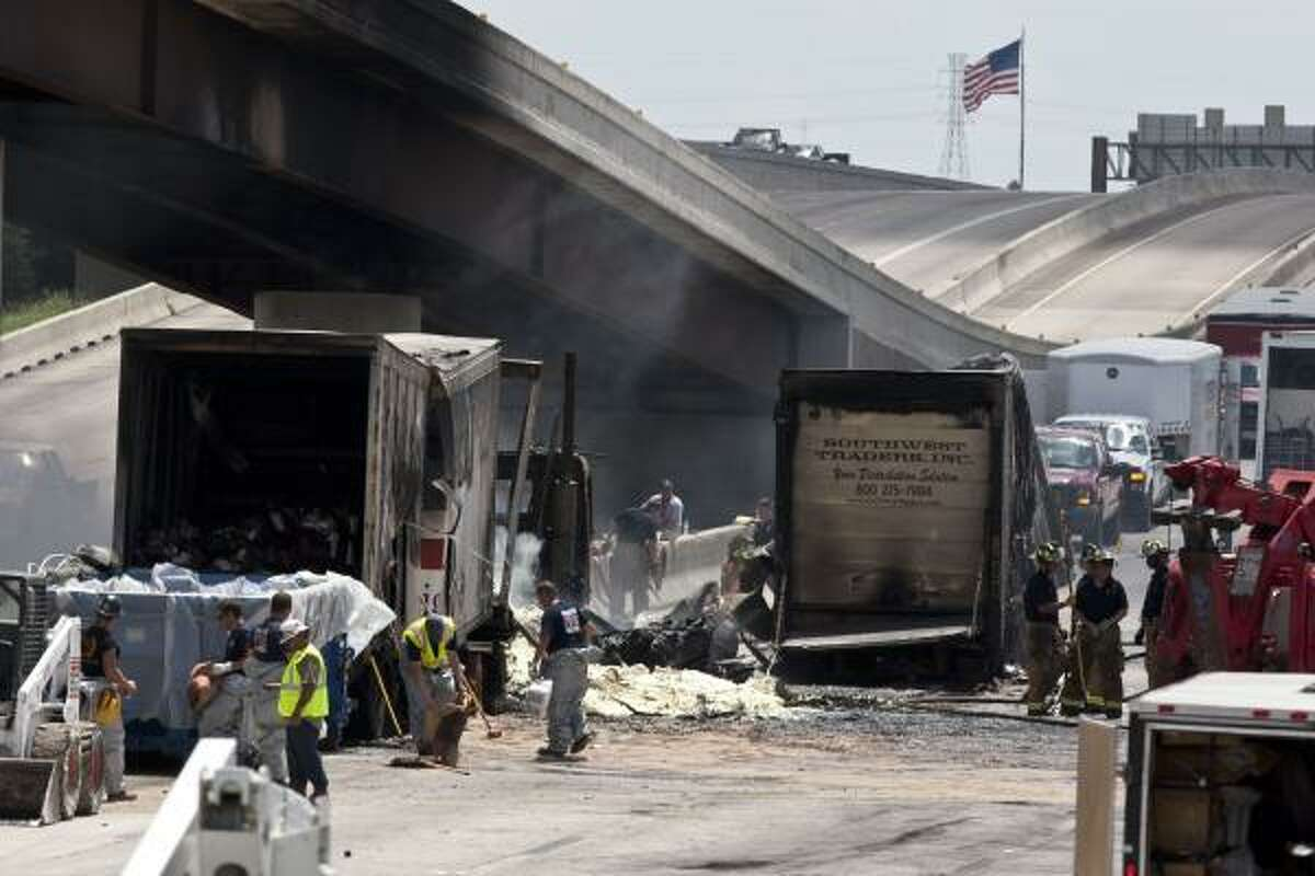The chemical incident happened at 6 a.m. after two 18-wheelers headed southbound side-by-side collided. Both trucks caught fire.