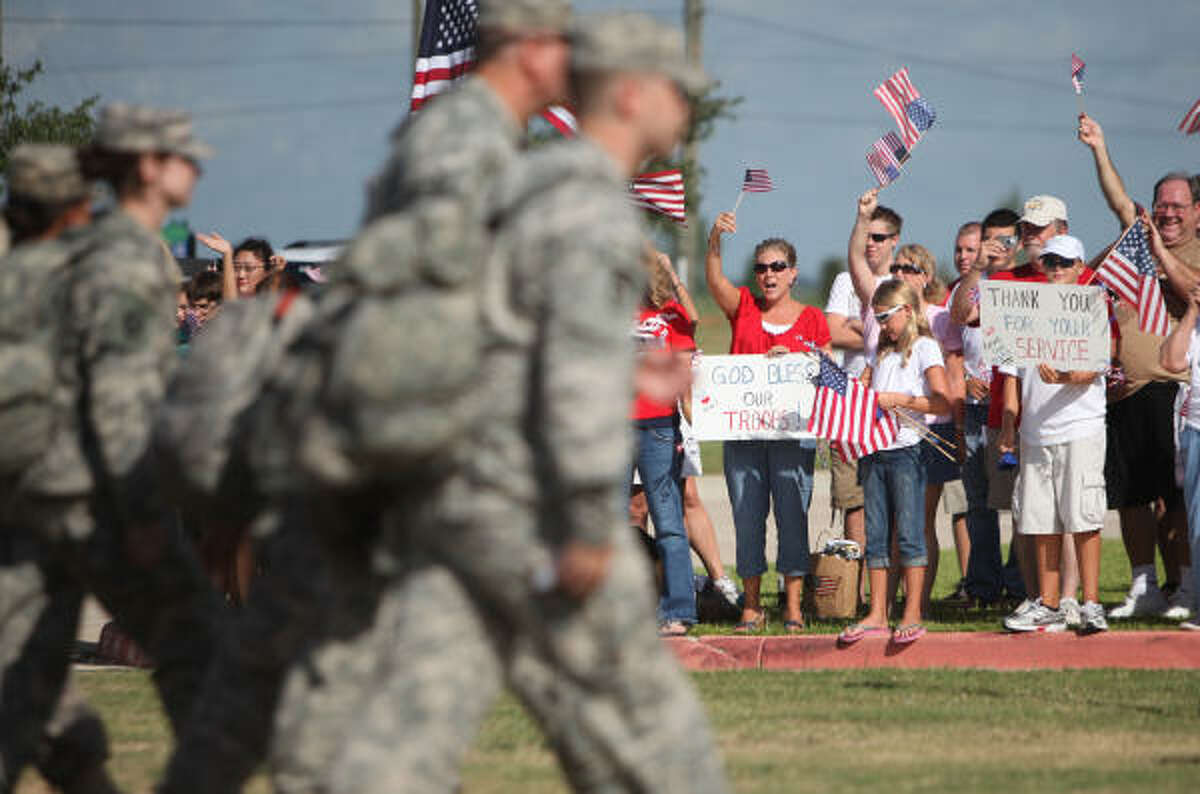 The Cypress community welcomes home the Texas National Guards's HHC-72nd Infantry Brigade Combat Team at the Cypress Ranch High School.