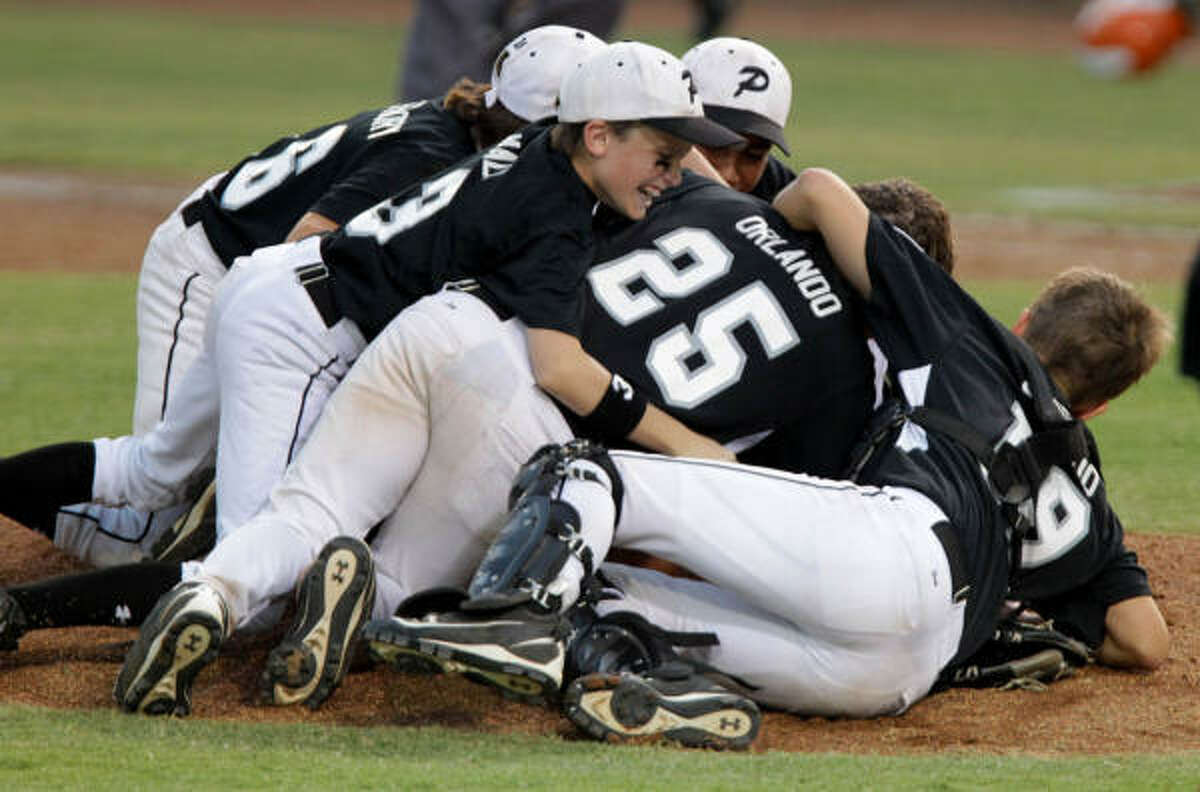 Members of the Pearland Little League team celebrate moments after beating Eagle Pass 5-3 in Thursday's Southwest Regional final at George W. Bush Little League Stadium. Pearland advances to the Little League World Series in Williamsport, Pa.