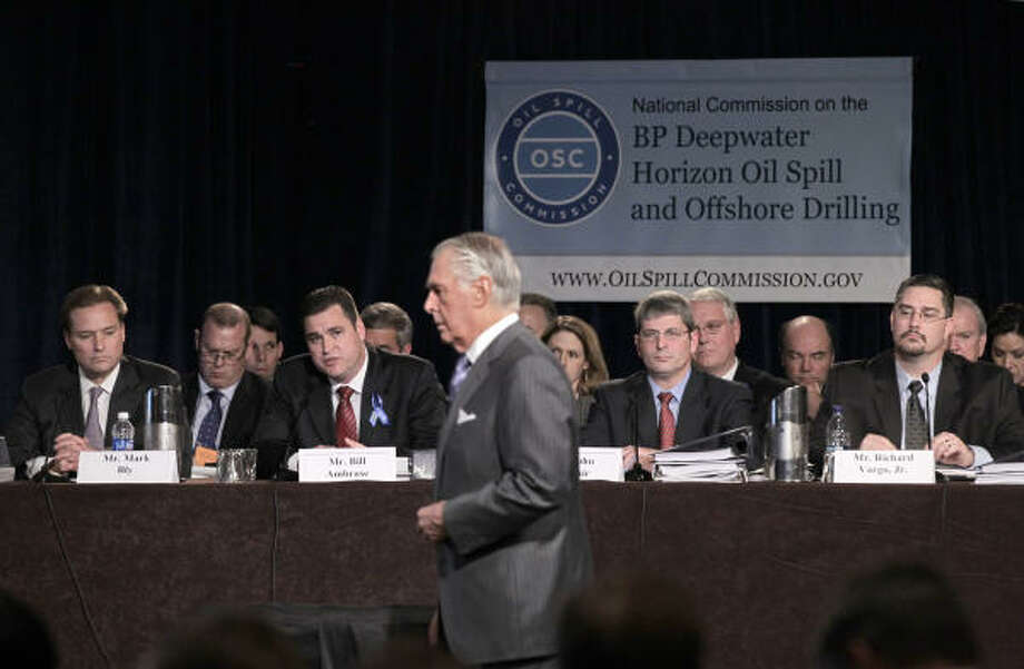 "Chief Counsel Fred Bartlit, center, tells representatives of BP, Transocean and Halliburton, ""Any time you're talking about a million and a half dollars a day, money enters in."" Photo: J. Scott Applewhite, AP"