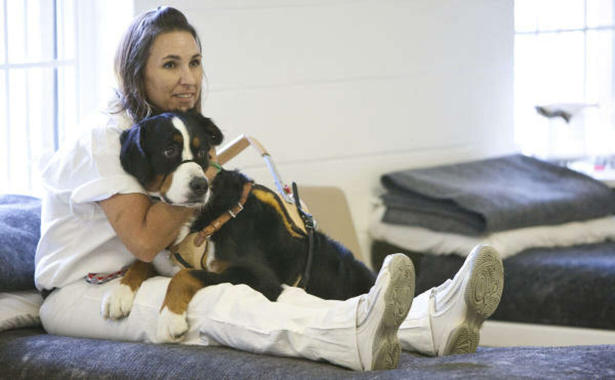 Jerrie Strength and Sioux, a Bernese Mountain Dog, practice a technique that calms legs that are going through a seizure.