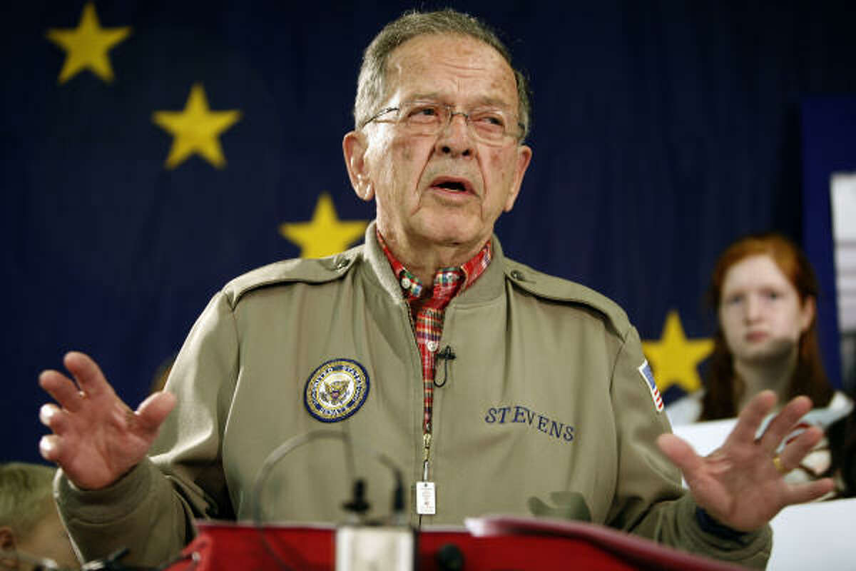 Sen. Ted Stevens, R-Alaska, speaks in Anchorage in 2008, announcing that he is running for re-election. Stevens was killed in a plane crash in southwest Alaska's remote mountains and lakes Aug. 9, 2010.