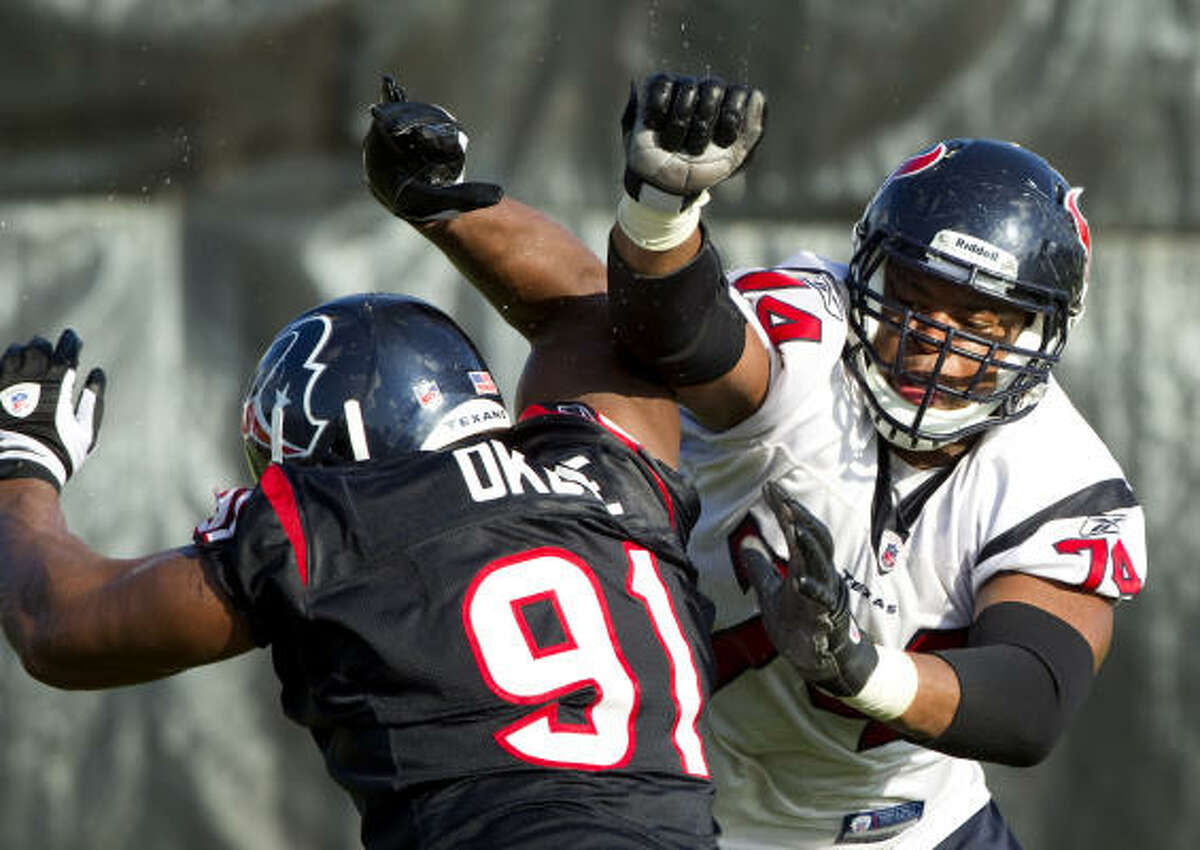 Texans center Wade Smith (74) blocks defensive tackle Amobi Okoye (91) during practice.