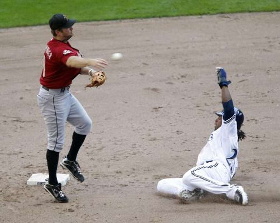 Aug. 9: Brewers 11, Astros 6Astros second baseman Jeff Keppinger, left, forces out Milwaukee Brewers second baseman Rickie Weeks and throws onto first to complete a double play on Corey Hart  in the fifth inning. Photo: Jeffrey Phelps, AP
